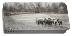 Team Of Six Horses Tilling The Fields Portable Battery Charger