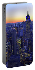 Terminal Tower And Lower Manhattan Nyc At Dusk Portable Battery Charger