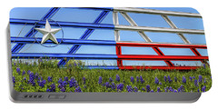 Texas Flag Painted Gate With Blue Bonnets Portable Battery Charger