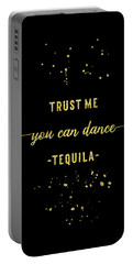 Portable Battery Charger featuring the digital art Text Art Gold You Can Dance Tequila by Melanie Viola