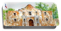 Portable Battery Charger featuring the painting The Alamo Mission Texas by Carlin Blahnik CarlinArtWatercolor