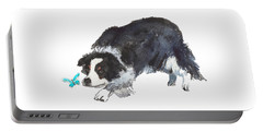 The Collie And Blue Butterfly Portable Battery Charger