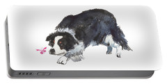 The Collie And Pink Butterfly Portable Battery Charger
