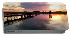 The Hollering Place Pier At Sunset Portable Battery Charger