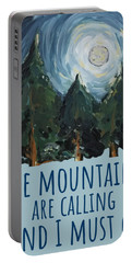 Portable Battery Charger featuring the painting The Mountains Are Calling by Maria Langgle