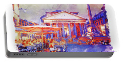 The Pantheon Rome Watercolor Streetscape Portable Battery Charger
