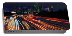 The Road To Dallas - Dallas Skyline - Tom Landry Freeway Portable Battery Charger