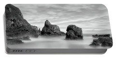 The Rocky Coast Of St Cyrus - Scotland - Black And White Seascape Portable Battery Charger