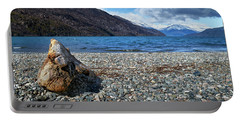 The Trunk, The Lake And The Mountainous Landscape Portable Battery Charger