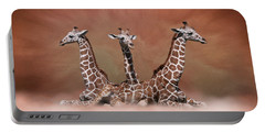 Portable Battery Charger featuring the digital art The Watchers - Three Giraffes by Debi Dalio