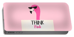 Think Pink - Baby Room Nursery Art Poster Print Portable Battery Charger