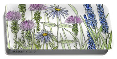 Thistle Asters Blue Flower Watercolor Wildflower Portable Battery Charger