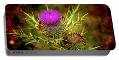 Portable Battery Charger featuring the photograph Thistle Life by Milena Ilieva