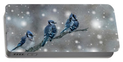 Three Blue Jays In The Snow Portable Battery Charger