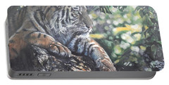 Tiger In Dappled Light Portable Battery Charger