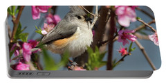 Titmouse And Peach Blossoms Portable Battery Charger