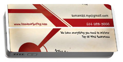 Portable Battery Charger featuring the digital art Toma Marketing Business Cards by Mario MJ Perron