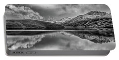 Topaz Lake Winter Reflection, Black And White Portable Battery Charger
