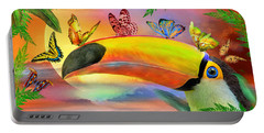 Portable Battery Charger featuring the mixed media Toucan And Butterflies by Carol Cavalaris