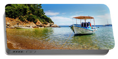 Traditional Colorful Boats In Old Town Of Skiathos Island, Spora Portable Battery Charger
