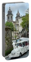 Train And Church - Santiago De Compostela - Spain Portable Battery Charger