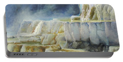 Travertine Terraces - Mammoth Hot Springs, Yellowstone National Park Portable Battery Charger