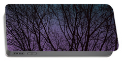 Tree Silhouette Against Blue And Purple Portable Battery Charger