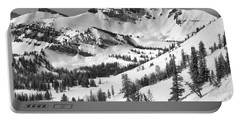 Trees At Rendezvous Peak Black And White Portable Battery Charger
