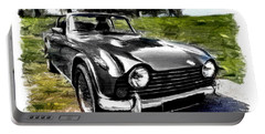 Triumph Tr5 Monochrome With Brushstrokes Portable Battery Charger