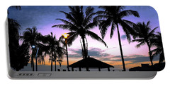 Tropical Beach Scene After Sunset Portable Battery Charger