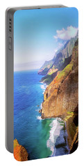 Portable Battery Charger featuring the digital art Tropical Coastline Hawaii Aerial Photograph Of The Isolated Napali Coast by OLena Art Brand