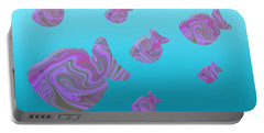Tropical Fish In Pink Psychedelic Pattern Portable Battery Charger