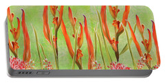 Tropical Floral Print Lime Green Batik Portable Battery Charger