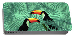 Tropical Forest - Toucan Birds - Tropical Palm Leaf Pattern - Leaf Pattern - Tropical Print 2 Portable Battery Charger