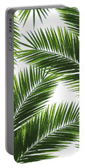 Tropical Palm Leaf Pattern 1 - Tropical Wall Art - Summer Vibes - Modern, Minimal - Green Portable Battery Charger