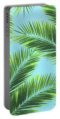 Tropical Palm Leaf Pattern 2 - Tropical Wall Art - Summer Vibes - Modern, Minimal - Green, Blue Portable Battery Charger