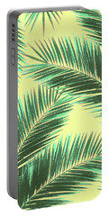 Tropical Palm Leaf Pattern 3 - Tropical Wall Art - Summer Vibes - Modern, Minimal - Green, Beige Portable Battery Charger