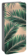 Tropical Palm Leaf Pattern 4 - Tropical Wall Art - Summer Vibes - Modern, Minimal - Green, Peach Portable Battery Charger