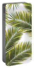 Tropical Palm Leaf Pattern 5 - Tropical Wall Art - Summer Vibes - Modern, Minimal - Green, Yellow Portable Battery Charger