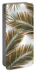 Tropical Palm Leaf Pattern 6 - Tropical Wall Art - Summer Vibes - Modern, Minimal - Brown, Copper Portable Battery Charger