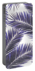 Tropical Palm Leaf Pattern 7 - Tropical Wall Art - Summer Vibes - Modern, Minimal - Purple, Violet Portable Battery Charger