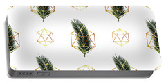 Tropical Palm Leaf Pattern - Gold Geometric Pattern 1 - Tropical Wall Art - Palm Leaf And Gold Portable Battery Charger