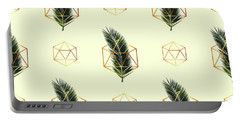 Tropical Palm Leaf Pattern - Gold Geometric Pattern 3 - Tropical Wall Art - Palm Leaf And Gold Portable Battery Charger