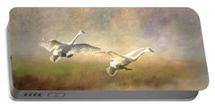 Trumpeter Swan Landing - Painterly Portable Battery Charger