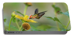 Portable Battery Charger featuring the photograph Tufted Coquette Feeds On Sunflowers by Rachel Lee Young