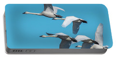 Portable Battery Charger featuring the photograph Tundra Swans In Flight by Donald Brown