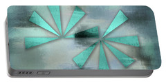 Turquoise Triangles On Blue Grey Backdrop Portable Battery Charger
