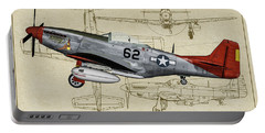 Tuskegee P-51d Bunny Profile Art Portable Battery Charger