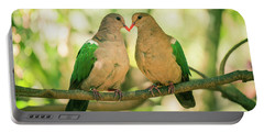 Two Colourful Doves Resting Outside On A Branch. Portable Battery Charger