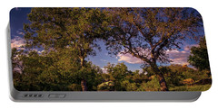 Two Old Oak Trees At Sunset Portable Battery Charger
